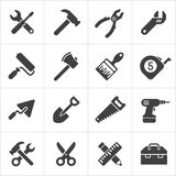 Working Tool and instrument icons white. Vector Royalty Free Stock Image