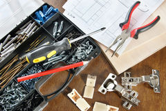 Working tools for assembly of furniture Stock Photos