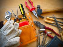 Working Tools Background. Working tools on table background Stock Images