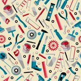 Working tools background labor day seamless pattern. Icons instruments stock illustration