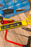 Working tools on a board Stock Photo