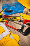 Working tools on a board, a closeup Stock Images