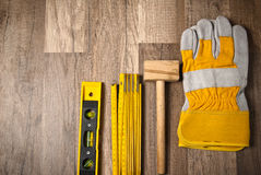 Working tools on a board, a closeup Royalty Free Stock Photography
