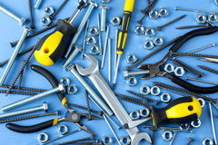 Working tools and bolts Stock Images