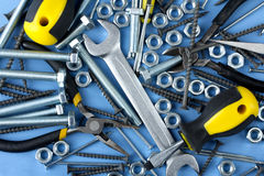 Working tools and bolts Stock Image