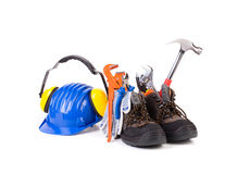 Working tools in boots. Stock Photos