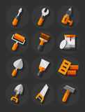 Working tools for construction and repair flat icons set Stock Image