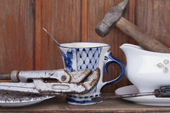 Working Tools And Crockery Royalty Free Stock Photography