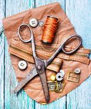 Tools of a tanner for working with leather Royalty Free Stock Image