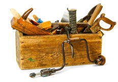 Working tools (drill, axe, saw and others) in an Royalty Free Stock Images