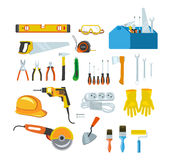 Working tools, equipment for repair and construction in the house. Stock Photos