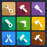 Working tools flat icon set 13. Working tools flat icon set for Web and Mobile Applications Royalty Free Stock Images