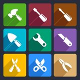 Working tools flat icon set 12 Royalty Free Stock Images