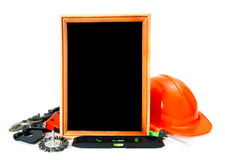 Working tools and frame on white background Royalty Free Stock Images