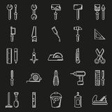 Working tools icon set on black background. Created For Mobile, Web, Decor, Print Products, Applications. Icon . Vector illustration Stock Illustration