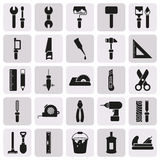 Working tools icon set on button. Created For Mobile, Web, Decor, Print Products, Applications. Icon . Vector illustration Stock Illustration