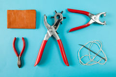 Working tools leather craftsman top views Stock Photos