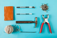 Working tools leather craftsman top views Stock Image