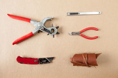 Working tools leather craftsman top views Royalty Free Stock Images