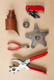 Working tools leather craftsman top views Stock Photography