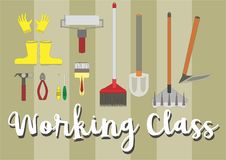 Working tools like rub, shovel, paint brush and more royalty free illustration