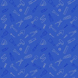 Working tools pattern seamless blue Royalty Free Stock Photos