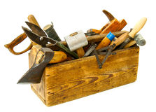 Working tools (pliers, chisel, plane and others. Old working tools. Working tools (pliers, chisel, plane and others) in an old box on white background Royalty Free Stock Image