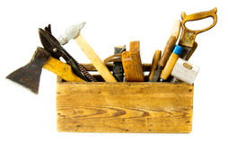 Working tools (saw, axe, chisel and others) in an Royalty Free Stock Images