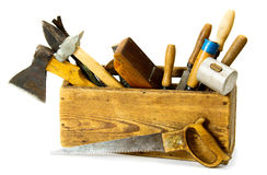 Working tools (saw, axe, chisel and others) in an Royalty Free Stock Image