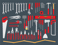Working tools set. Repair and construction tools collection - do it yourself project Royalty Free Stock Images