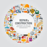 Working tools vector logo design template. Construction tools on a grey background. vector illustration stock illustration