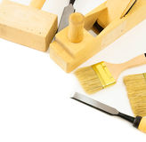 Working tools on a white background. Joiner's works. Working tools on a white background Stock Photo