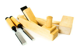 Working tools on a white background. Joiner's works. Working tools on a white background Stock Photos