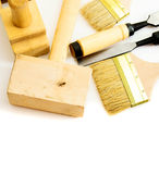 Working tools on a white background. Joiner's works. Working tools on a white background Royalty Free Stock Images