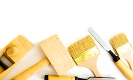 Working tools on a white background. Joiner's works. Working tools on a white background Royalty Free Stock Image