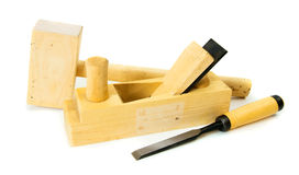 Working tools on a white background. Joiner's works. Working tools on a white background Royalty Free Stock Photo