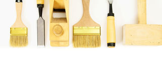 Working tools on a white background. Joiner's works. Working tools on a white background Stock Image