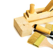 Working tools on a white background. Joiner's works. Working tools on a white background Royalty Free Stock Photos