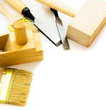 Working tools on a white background. Joiner's works. Working tools on a white background Stock Images