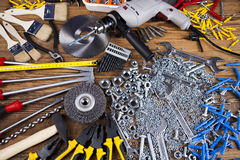 Working tools on wooden background Stock Image