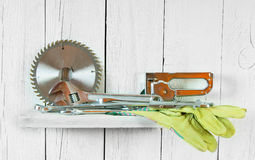 Working tools on wooden shelf Royalty Free Stock Images