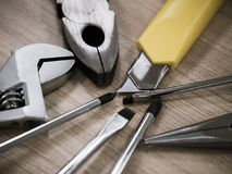 Working tools on wooden table Stock Photography