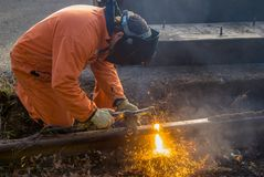 Working With A Cutting Torch royalty free stock images