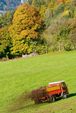 Working tractor. Farmer with tractor fertilizing the field Stock Image