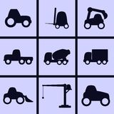 Working transport Icons. Set of icons on a theme Working transport Royalty Free Stock Photography