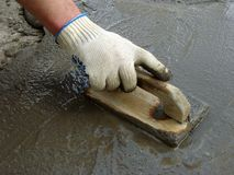 Working with trowel Stock Photos