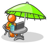 Working in vacation. An illustration from the orange man series, with the man working on his laptop while sitting under a large umbrella and having a nice cool Royalty Free Stock Image
