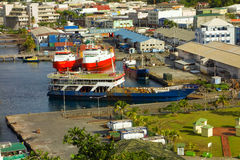 Working vessels at the customs jetty in kingstown Stock Images