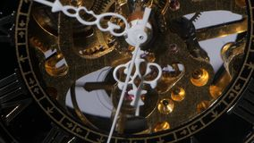 Working watch mechanism. Close up. Working old watch mechanism, moving metal gears, inside of an old clock mechanism, Moving metal gears inside working watch stock video footage