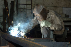 Working with a welder Royalty Free Stock Images